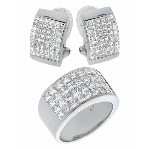 Princess Cut Diamond 18k White Gold Ring and Earrings Set