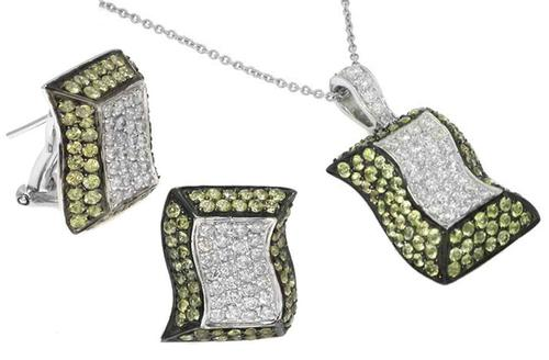 Round Cut Peridot Round Cut Diamond 14k White Gold Jewelry Set