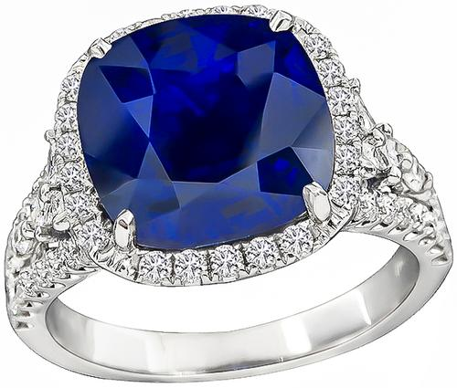 Cushion Cut Ceylon Sapphire Round Marquise and Princess Cut Diamond 18k White Gold Engagement Ring