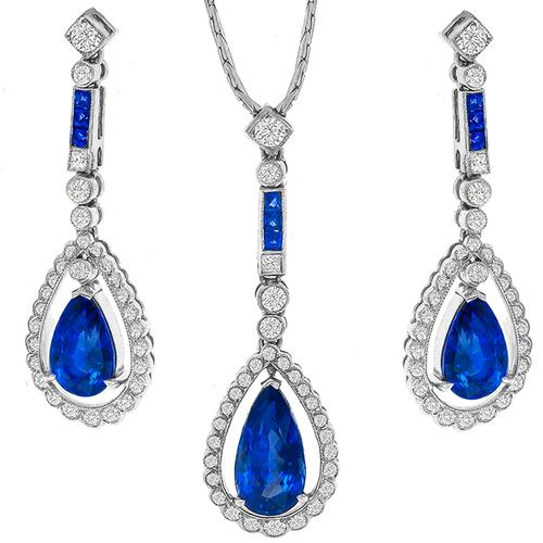 8.50cttw Sapphire  Diamond 18k White Gold  Pendant & Earrings Set