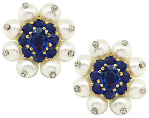 Oval and Round Cut Sapphire Round Cut Diamond Pearl 18k Gold Earrings