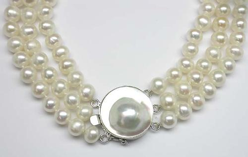 d0b4099ad1735 Buy 8.5mm Triple Strand Cultured Pearl Necklace W/ Silver Mother Of ...