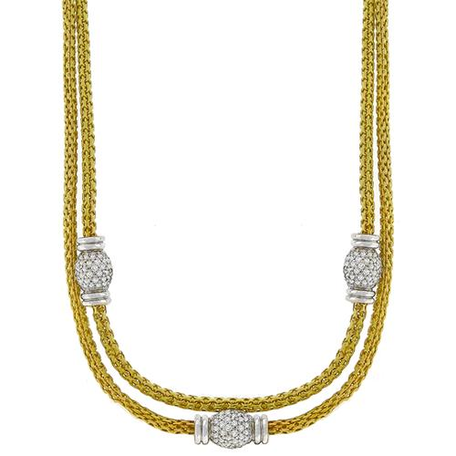 6.66ct Diamond 2 Tone Gold Mesh Necklace