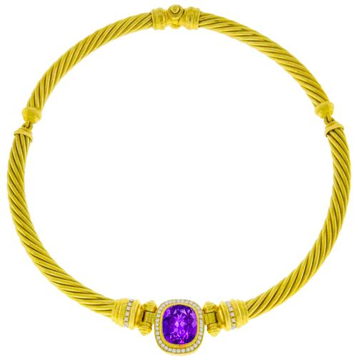 15.00ct Amethyst 1.20ct Diamond Gold Necklace