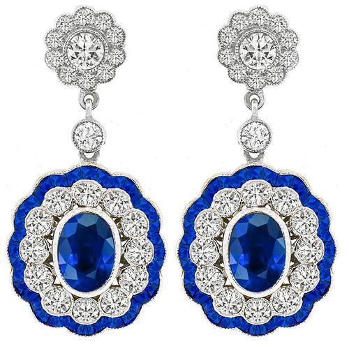 Estate 5.21ct Sapphire 2.70ct Diamond Gold Earrings