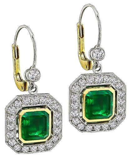 Emerald Cut Colombian Emerald Round Cut Diamond Platinum and Gold Earrings