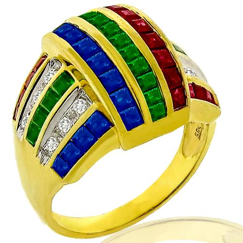 Diamond Sapphire Ruby Emerald Gold Ring