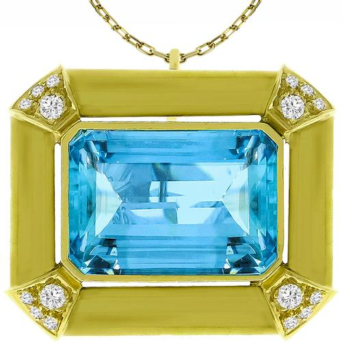 25.00ct Aquamarine 0.50ct Diamond Gold Pin/Pendant