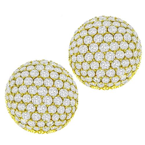 6.60ct Diamond Gold Button Earrings