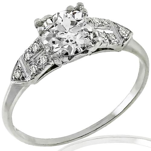 Art Deco GIA 1.02ct Diamond Engagement Ring