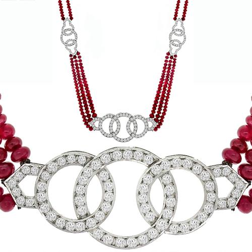 15.00ct Ruby 5.00ct Diamond Gold Necklace