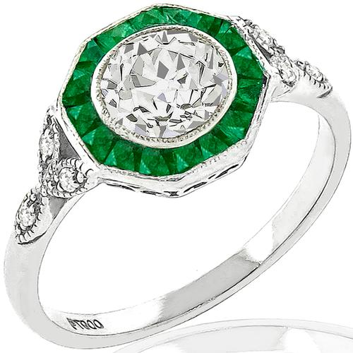 Old European Cut Diamond Emerald Platinum Engagement Ring