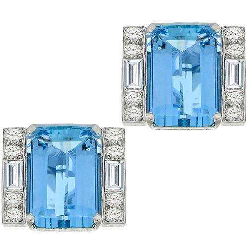 1950s 14.20ct Aquamarine 1.25ct Diamond Earrings