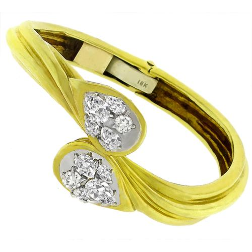 Estate 2.50ct Diamond 2 Tone Gold Bangle