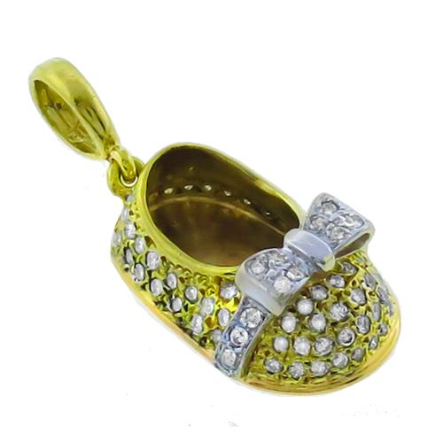 Aaron Basha Style  0.80ct Round Diamond 18k Yellow & White Gold Baby Shoe Charm Pendant