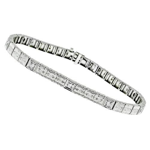 Edwardian 0 25ct Old Mine Diamond 14k White Gold Bracelet
