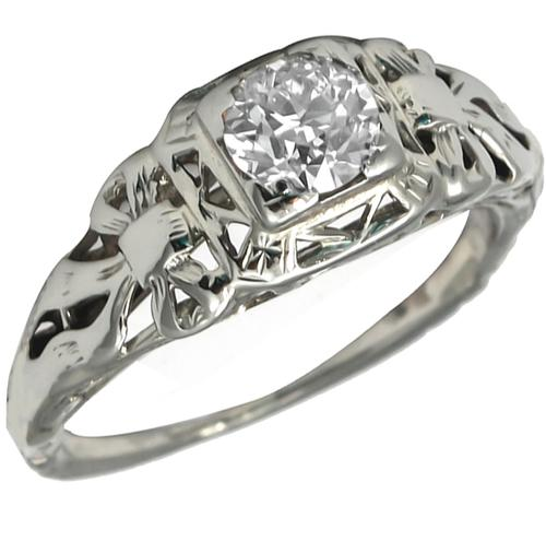 Edwardian   0.50t Old Mine  Cut Diamond 14k White Gold Engagement Ring