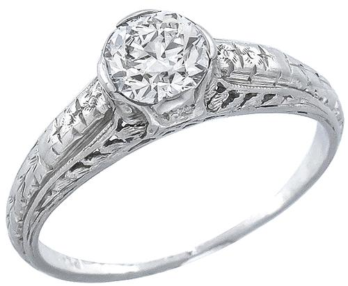 GIA Certified Edwardian 0.55ct Round Brilliant Cut Diamond Platinum Engagement Ring