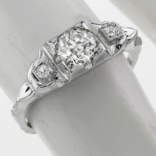 Art Deco 0.60ct Old Mine Cut Diamond  18k White Gold Engagement Ring
