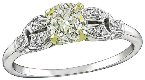 Art Deco Cushion Cut Light Fancy Yellow Diamond Platinum Engagement Ring