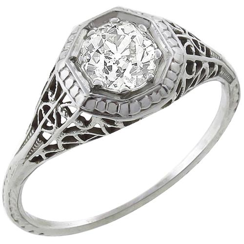 Edwardian 0.70ct Old Mine Cut Diamond 14k White Gold Engagement Ring