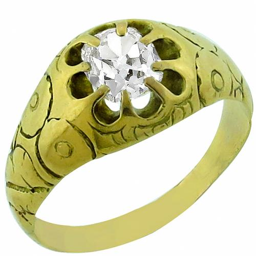 Victorian 0.70ct Cushion  Cut Diamond 14k Yellow Gold Ring