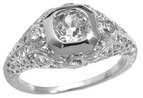Edwardian 0.72ct Old Mine Diamond 14k White Gold Engagement Ring GIA Certified