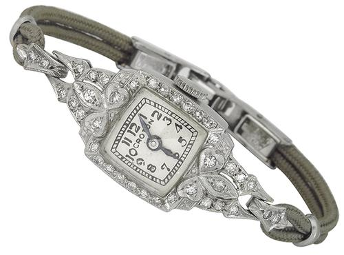 Art Deco Round Cut Diamond Platinum Croton Watch