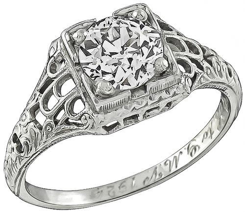 Edwardian Old Mine Cut Diamond 19k White Gold Engagement Ring