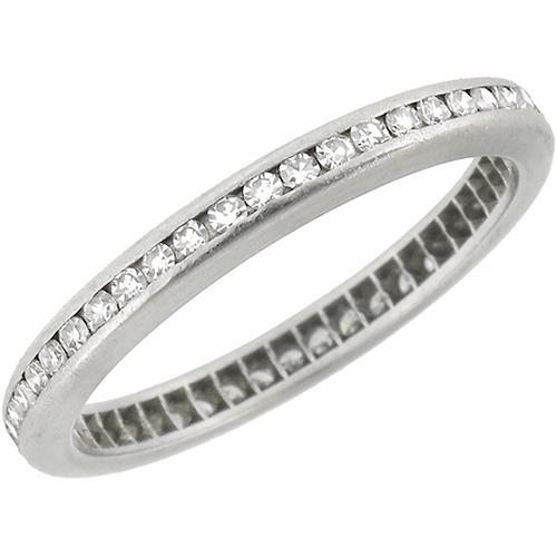 1920s 0.80ct Round Cut Diamond Eternity Platinum Wedding Band
