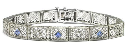 Edwardian  0.80ct Square Cut Sapphire & 0.45 Old Mine Diamond 14k White Gold Bracelet
