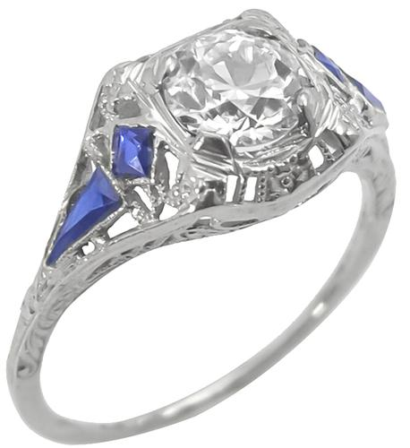 GIA Certified Art Deco 0.85ct Round Brilliant Diamond Sapphire 18k White Gold Engagement Ring