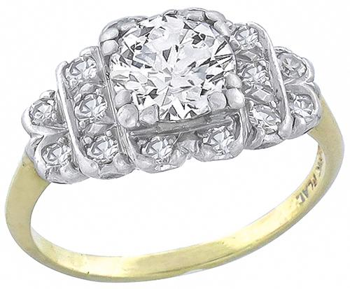 Art Deco Round Brilliant Cut Diamond 14k Yellow Gold Platinum Engagement Ring