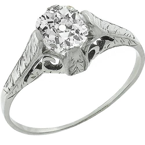 Edwardian 1.02ct Cushion Cut Diamond 18k White Gold Enagagement Ring