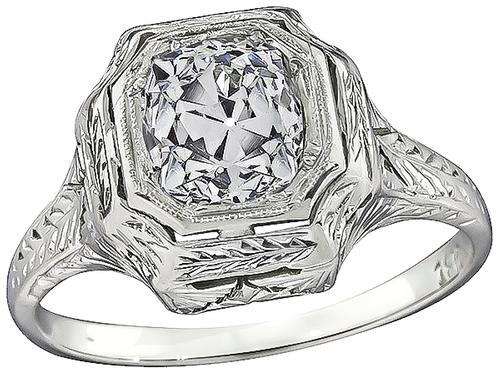 Old Mine Cut Diamond 18k White Gold Engagement Ring