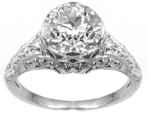 GIA Certified Edwardian 1.36ct Old Mine Cut Diamond Platinum  Engagement Ring