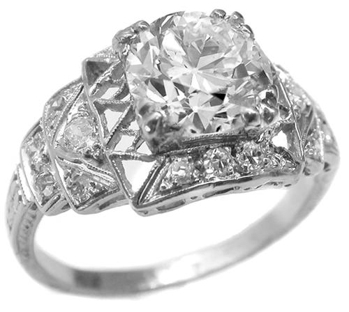Art Deco 1.64ct Old European Cut Diamond Platinum Engagement Ring