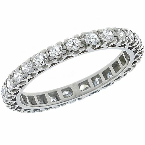 Estate 1.75ct Round Cut Diamond Eternity Platinum Wedding Band