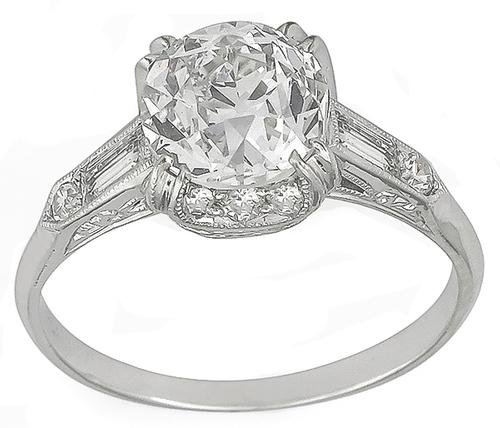 1920s Old European Cut Diamond Platinum Engagement Ring GIA Certified
