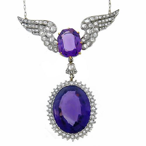 Estate 18.00ct Oval & Cushion Cut Amethyst 1.20ct Rose Cut Diamond Platinum Necklace