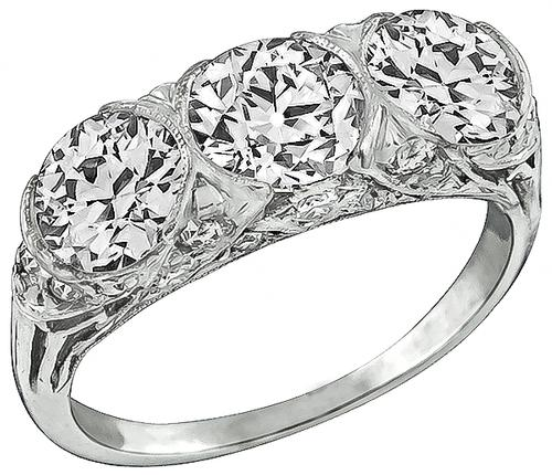 Edwardian Old Mine Cut Diamond Platinum Anniversary Ring