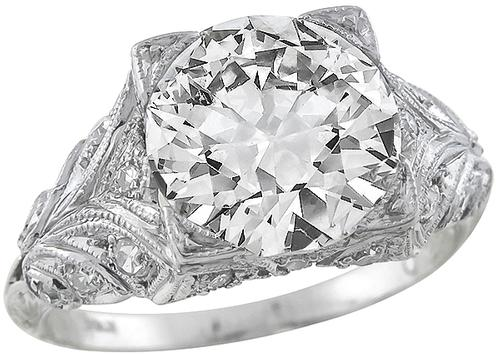 Edwardian Transition Round Brilliant Cut Diamond Platinum Engagement Ring