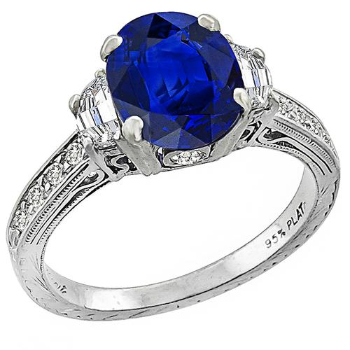 Sapphire Diamond Platinum Engagement Ring