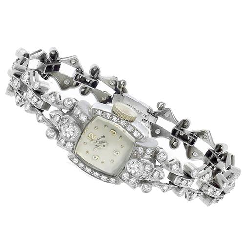 1920's Lady Elgin  2.54ct Round  Diamond  Platinum  Watch