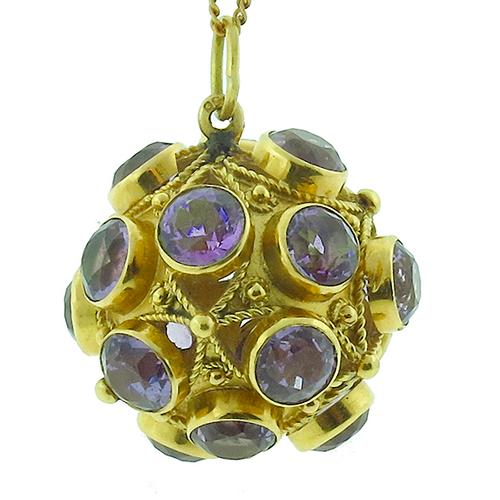 Victorian 27.00ct Round Cut Amethyst  18k Yellow Gold Ball  Fob/Pendant