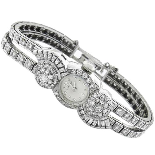 Art Deco 2.80ct Round & Baguette Cut Diamond Platinum Hamilton Watch