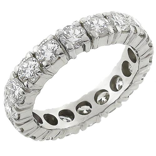 1920s 3.02ct Round Cut Diamond Platinum Wedding Band
