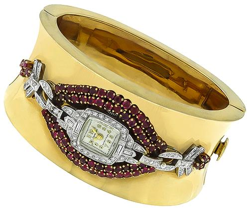 Art Deco and Retro Round Cut Ruby Diamond Platinum and 14k Yellow Gold Watch Bangle