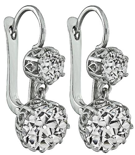 Edwardian Old Mine Cut Diamond Platinum Earrings