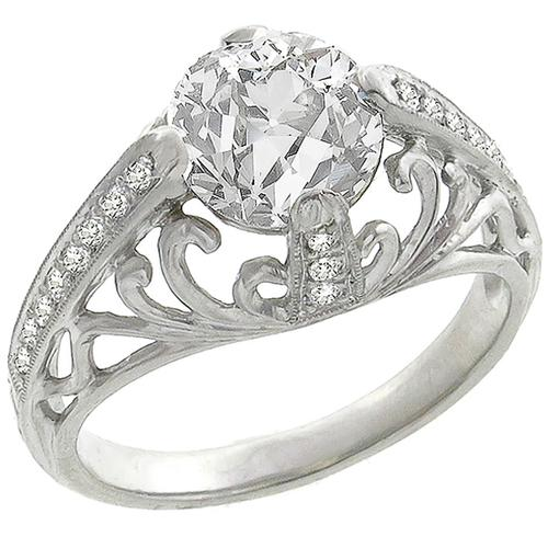 Edwardian EGL  Certified 1.62ct Old EuropeanCut   Diamond Platinum Engagement Ring